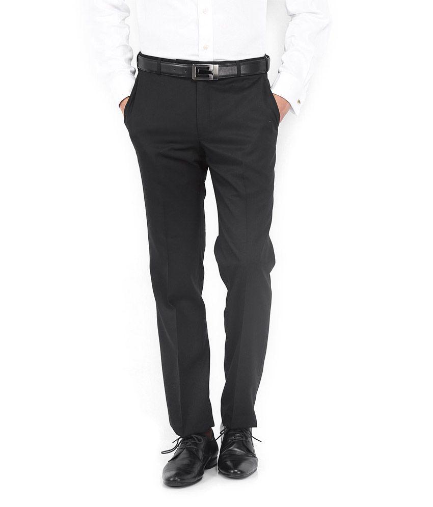 Vimal Black Poly Viscose Regular Formal Trouser