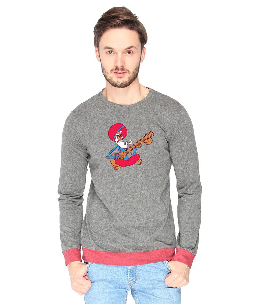 Campus Sutra Cotton Gray Sitar Printed T-shirt
