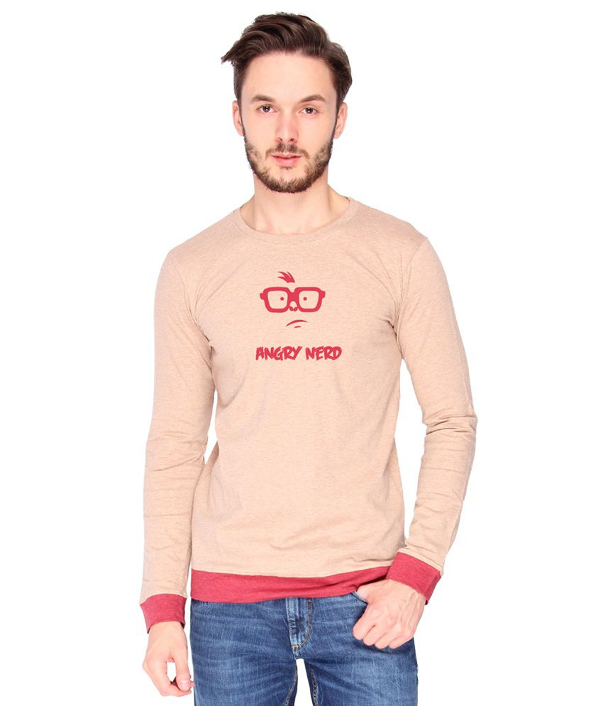 Campus Sutra Cotton PeachPuff Angry Nerd Printed T-shirt