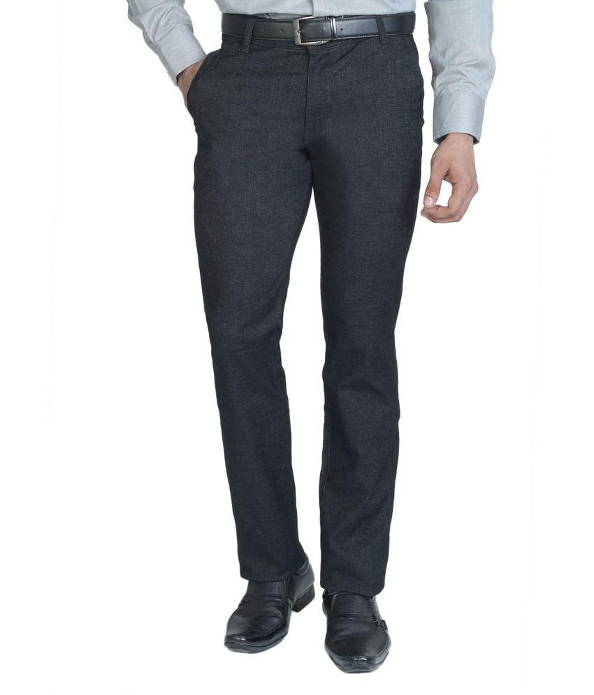 Clai Gray Cotton Slim Fit Formals for Men