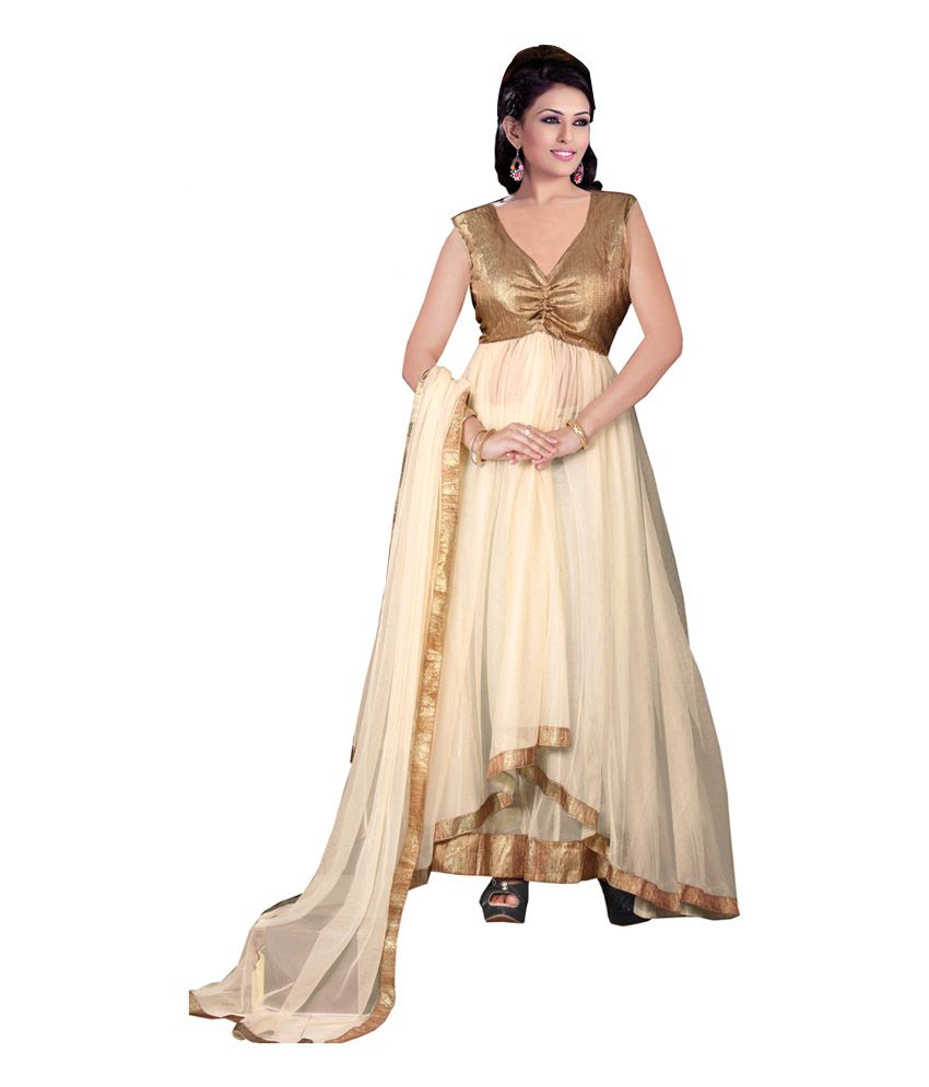 Styles Closet Beige Net Plain Anarkali Salwer Suit