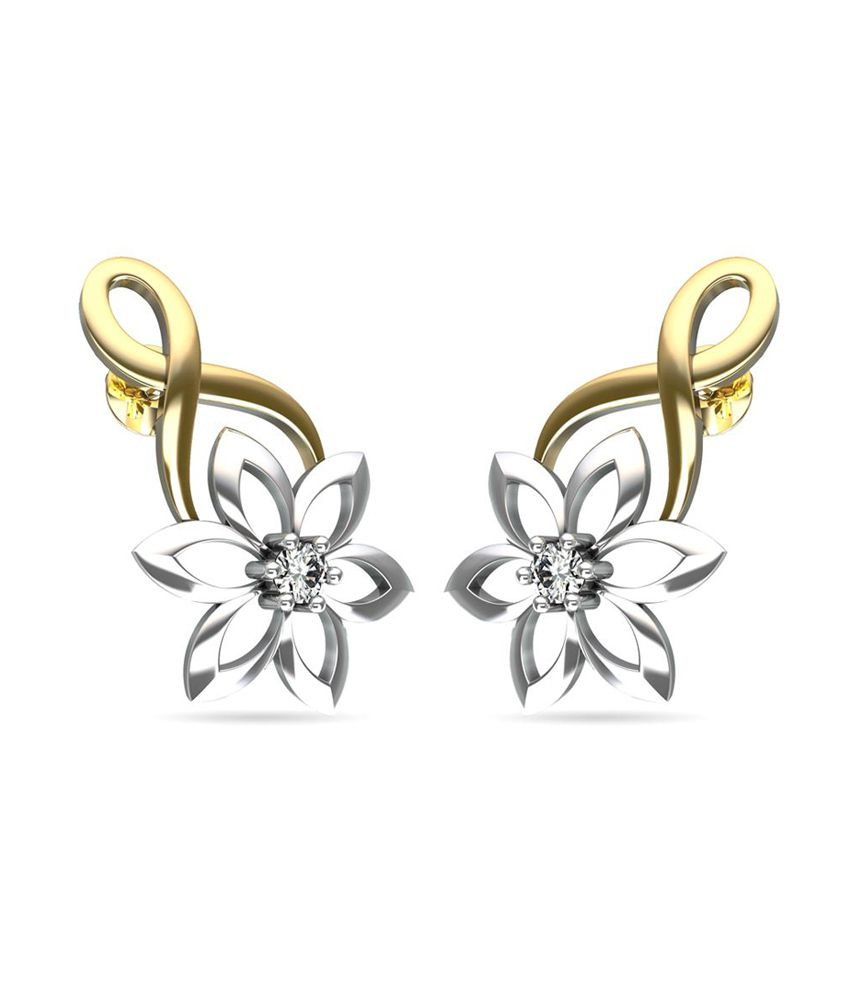 Jewelsforum Floral 14kt Gold Diamond Earrings