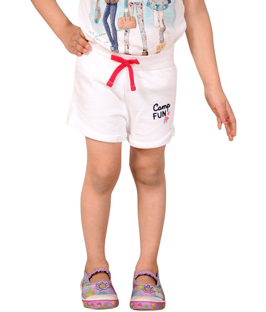 Tiny Toon White Cotton Elastic Shorts For Girls