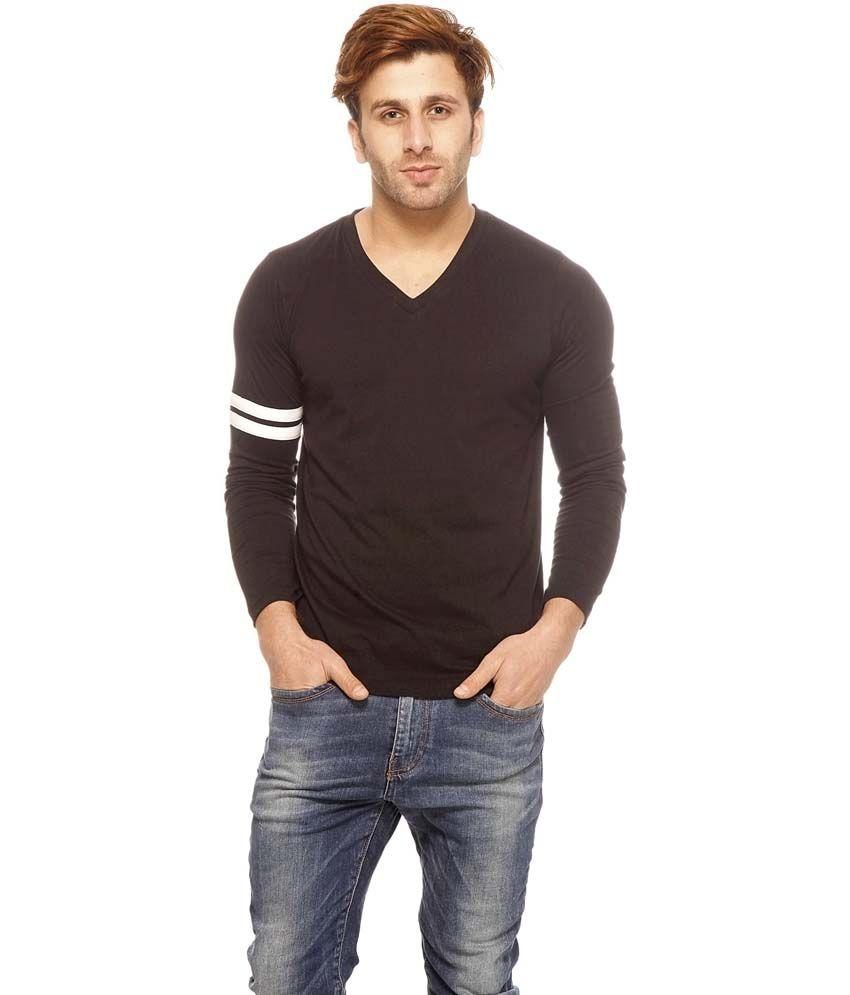 Gritstones Black Cotton Full Sleeves Round Neck T-Shirt