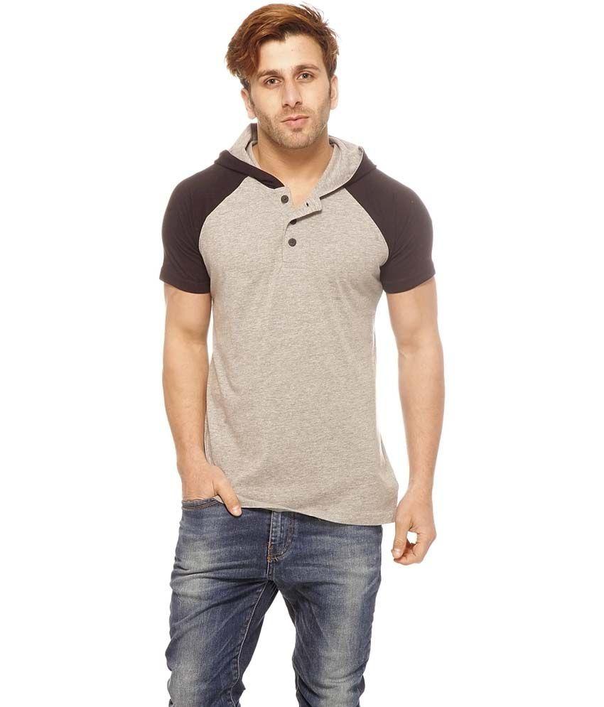 Gritstones Gray Cotton Half Sleeves Round Neck T-Shirt