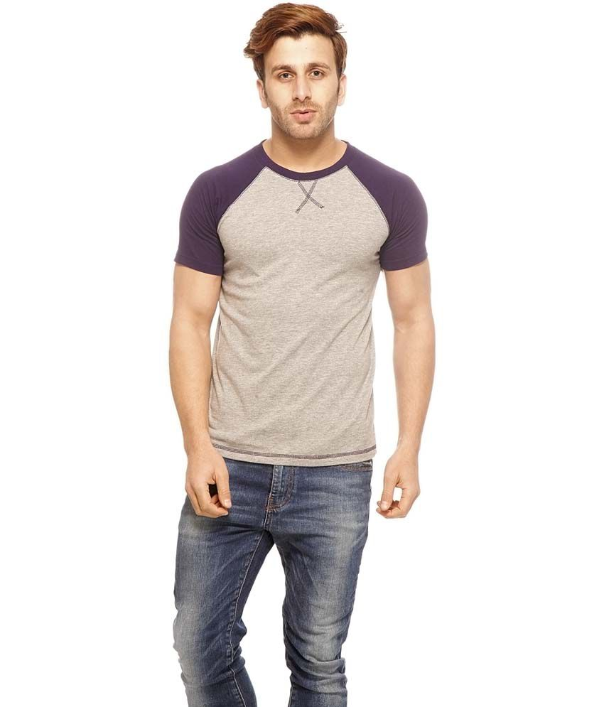 Gritstones Gray Cotton Half Sleeves Round Neck T-Shirt