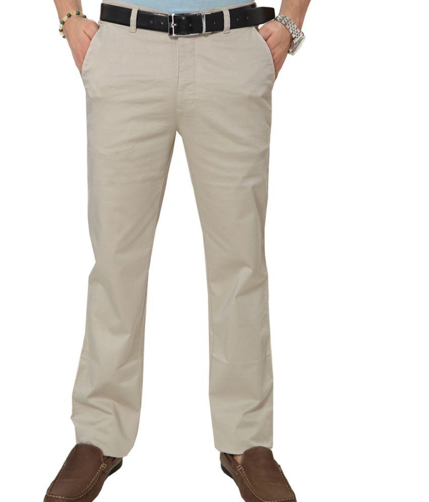Klix Jeans Green Cotton Regular Fit Chinos