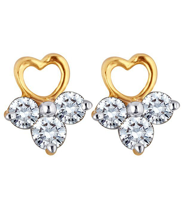Myzevar ElizabethHeart 18K Diamond Gold Stud Earring