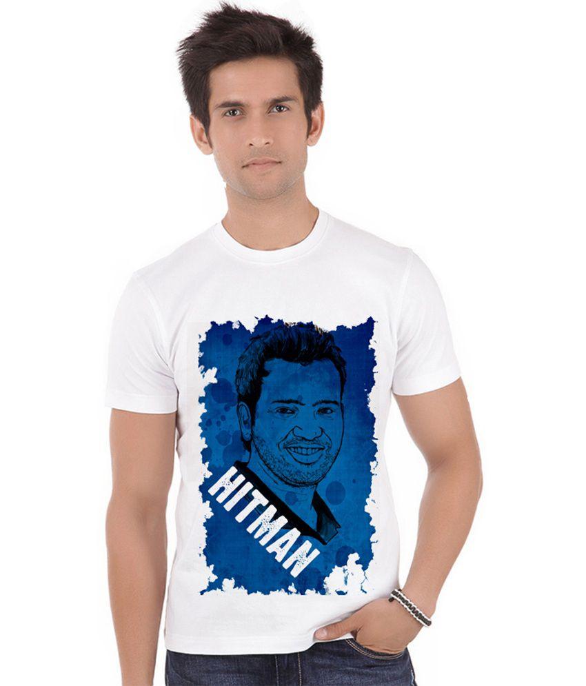 Shopmantra White Polyester Rohit Sharma Hitman T-shirt