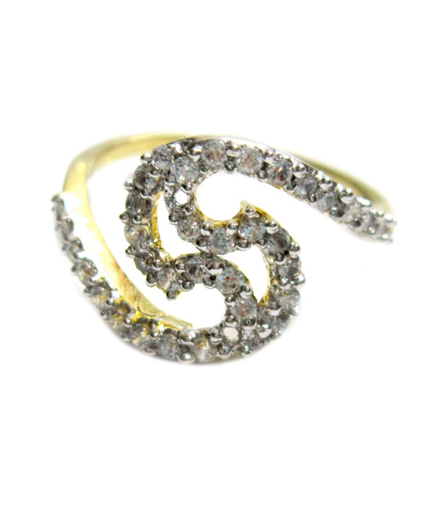 Style me gold plated american diamond ring buy style me Style me up fashion trim rings