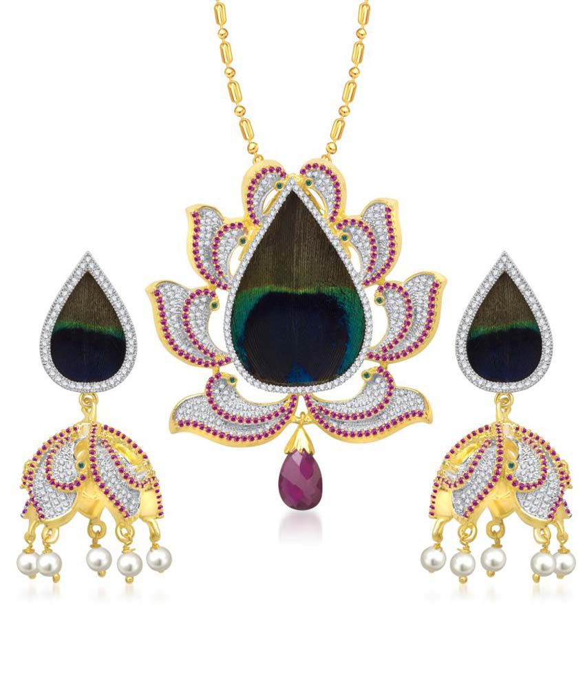 VK Jewels Mayur Gold Alloy Contemporary CZ Pendant set With Chain available at SnapDeal for Rs.5499