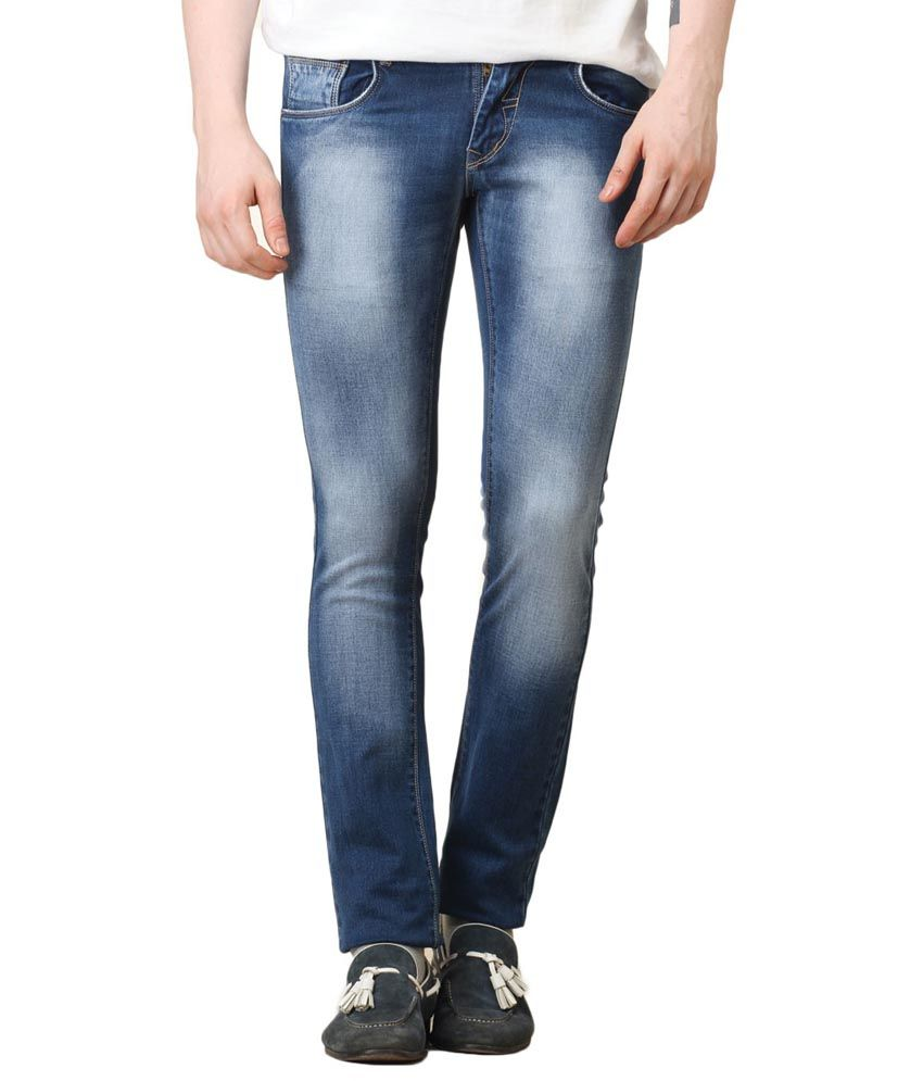 Waltz Blue Cotton Regular Fit Jeans