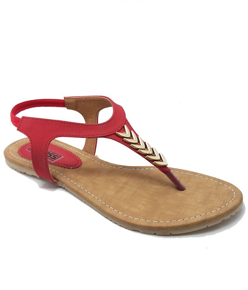 Bindass Red Flat Sandals For Women