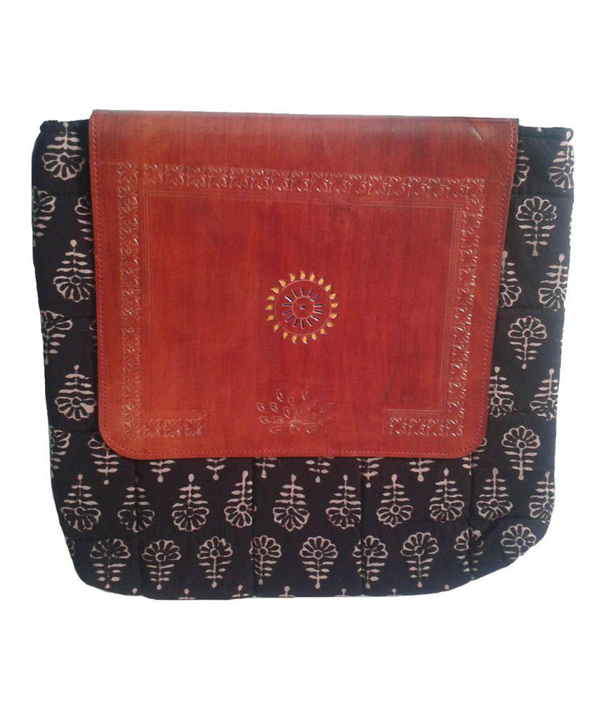 Hastkala Black Leather Sling Bags for Women