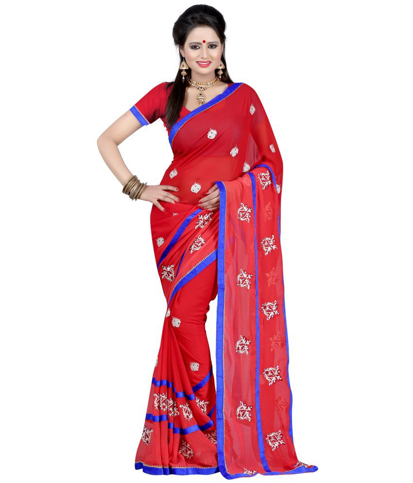 JK BROTHERS Red Faux Georgette Saree