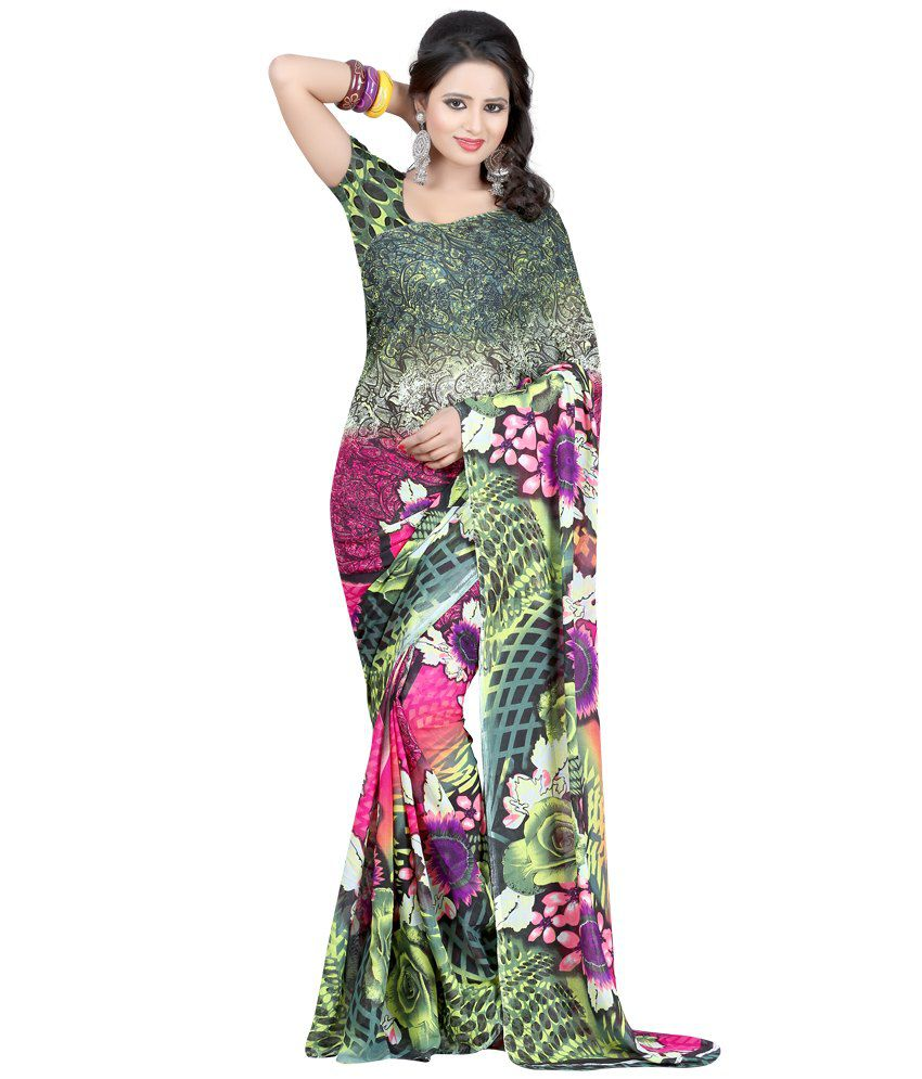 JK BROTHERS Green Faux Georgette Saree