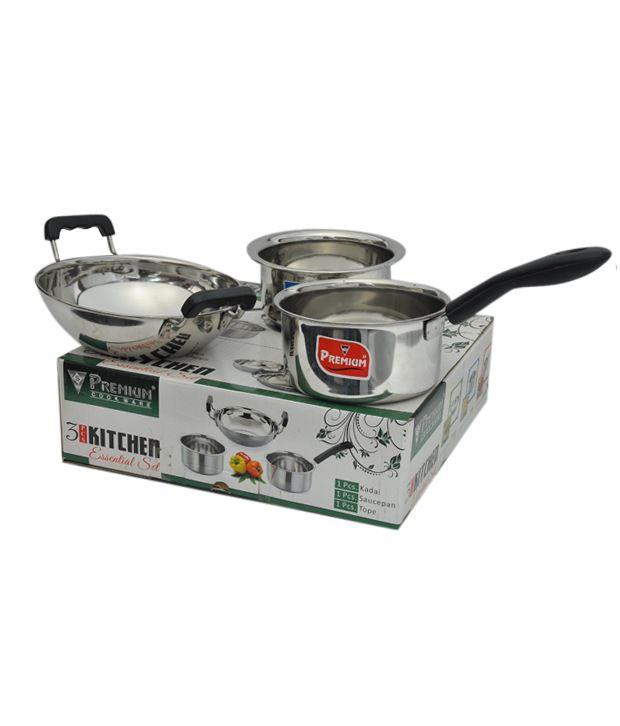 premium stainless steel 3 pc kitchen set buy at
