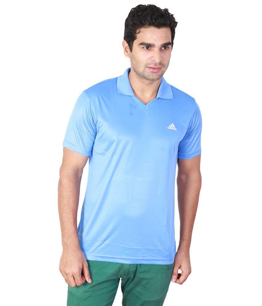 Adidas Blue Cotton Half Sleeved Polo T-Shirts