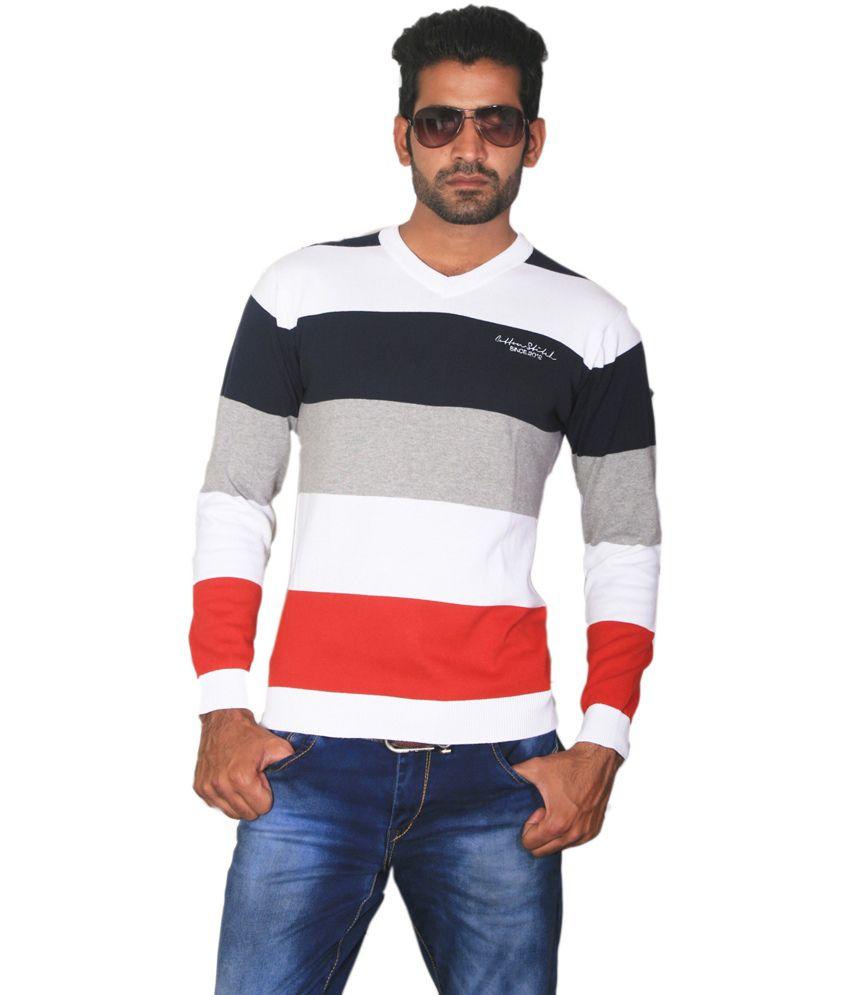 Cotton Stitch Multicolor Cotton Stripers V-neck T-shirt