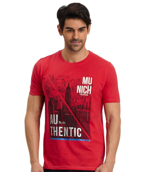 Fritzberg Red Cotton Printed T Shirt