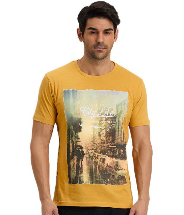 Fritzberg Yellow Cotton Printed T Shirt