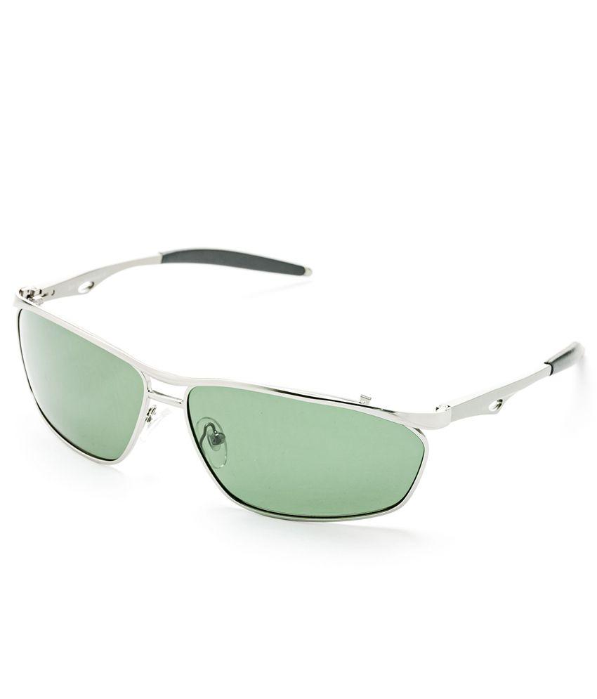 Hrinkar Silver Metal Rectangle Sunglasses