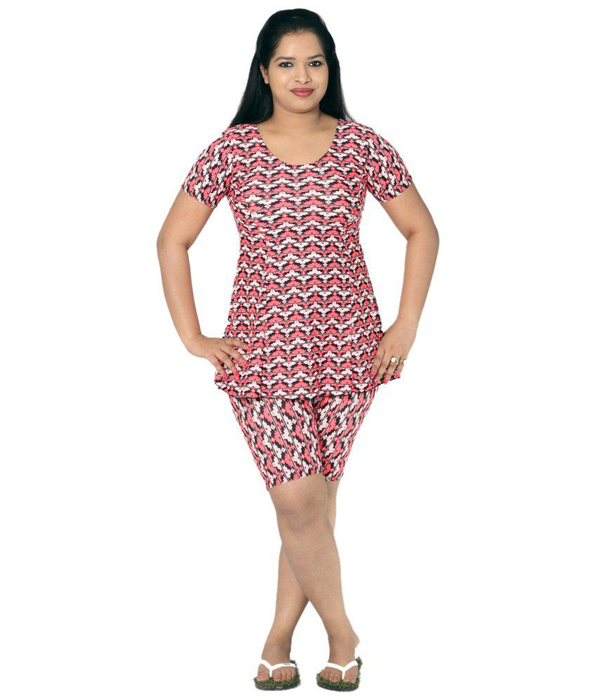Indraprastha Black & Peach Printed Swimsuit With Extended Shorts/ Swimming Costume