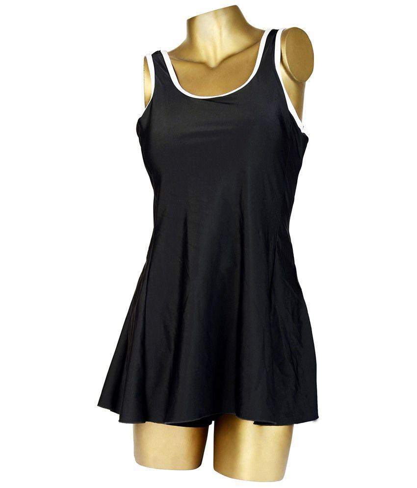 Indraprastha Exquisite Black Plain Swimsuit/ Swimming Costume
