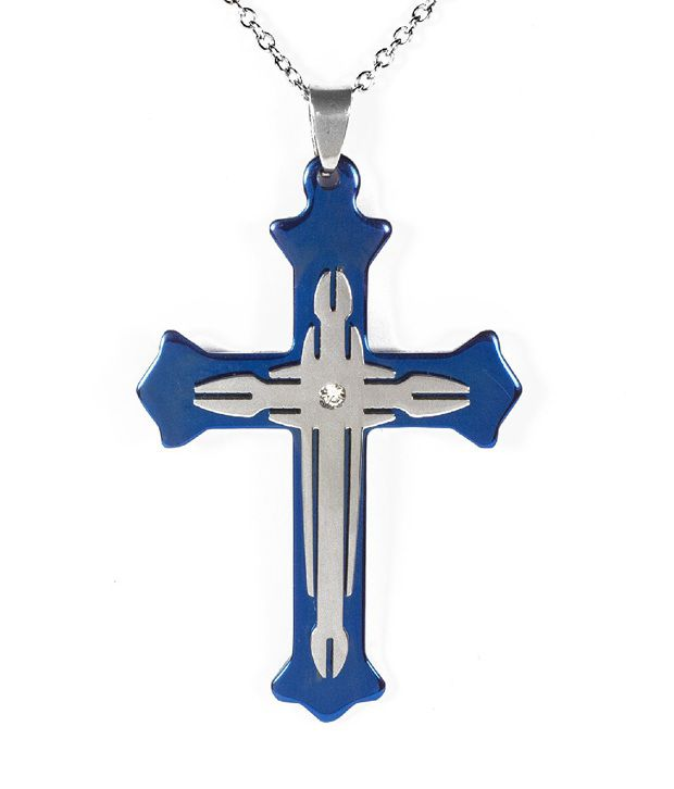Opouriao Stainless Steel Blue Cross with 22 inch Chain Necklace For Men