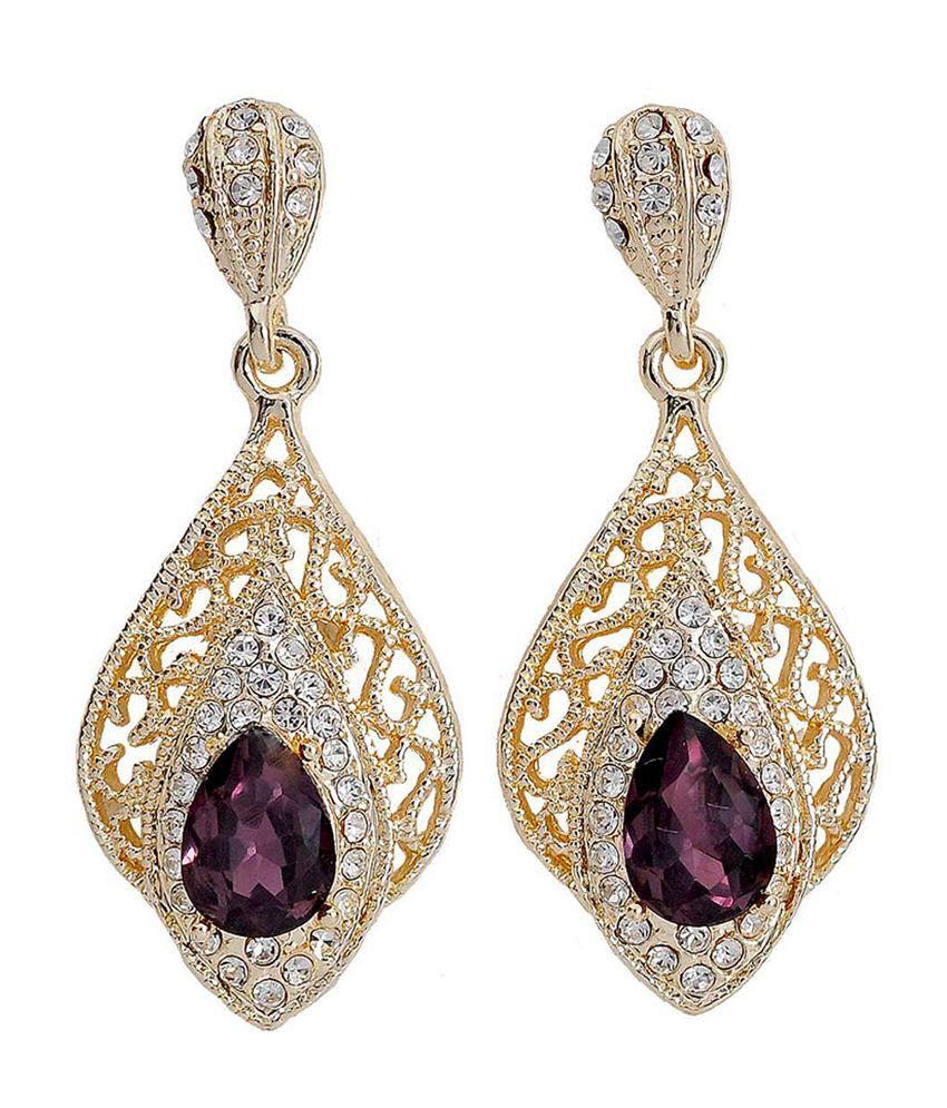 Maayra Purple & Gold Stone Work Drop Earrings