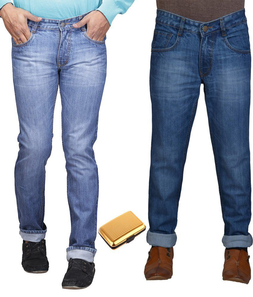 Q-nine Blue Cotton Faded Regular Fit Jeans with Card Holder - Pack of 2