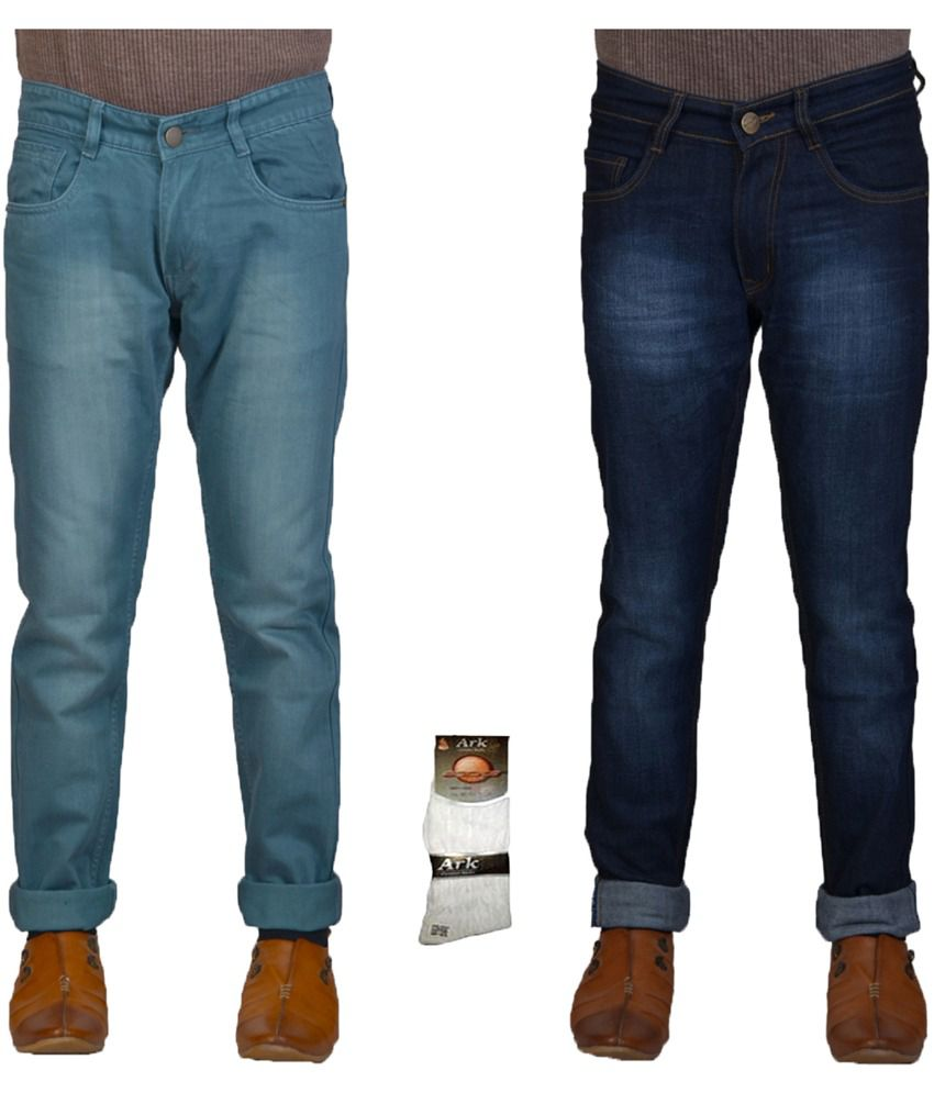 Q-nine Multicolour Cotton Regular Fit Faded Jeans with Socks - Pack of 2