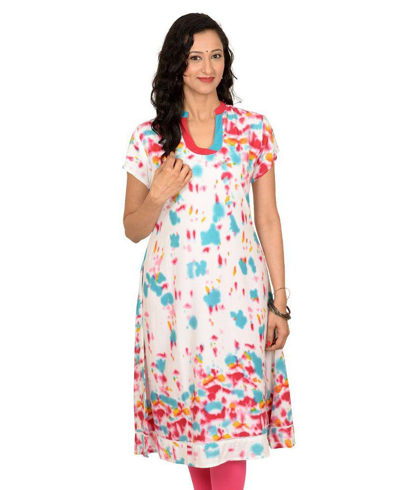 Kriti Ethnic Fashion Multi Color Viscose Half Long Chinese Collar Woven Kurti