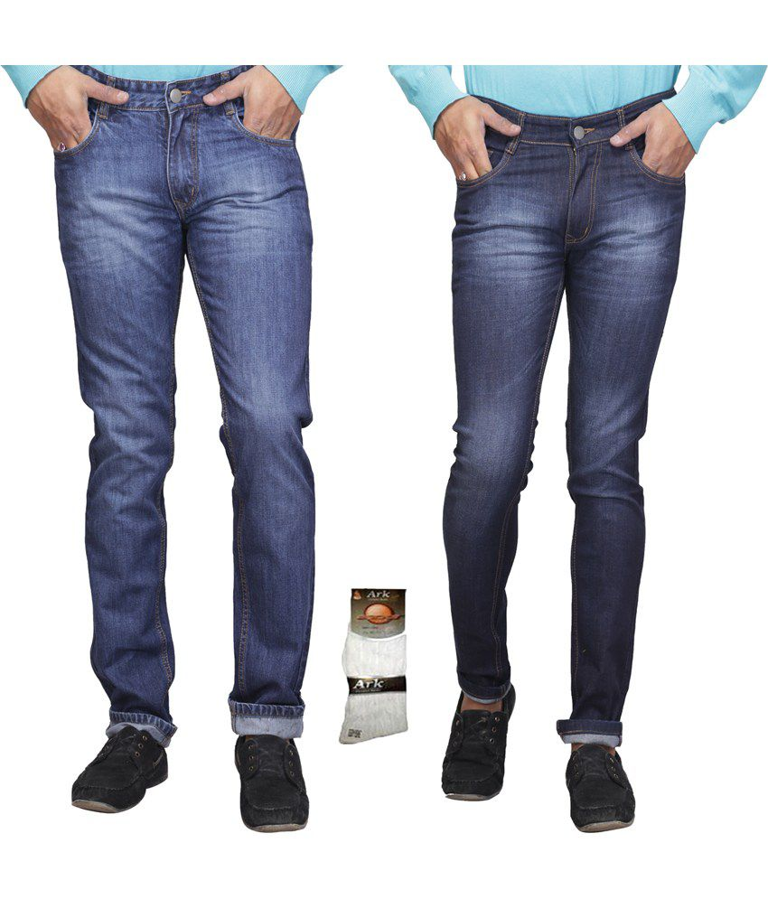 Q-nine Blue Cotton Stretchable Jeans With One Pair Of Sox - Pack Of 2