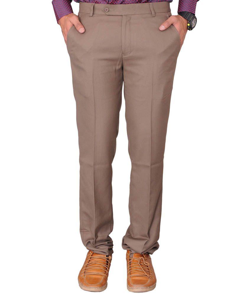 Tqs Brown Cotton Blend Flat Formals Trouser