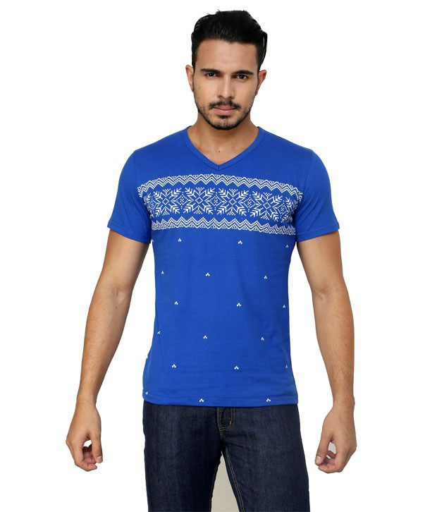 GEN Blue Cotton V-Neck T-Shirt