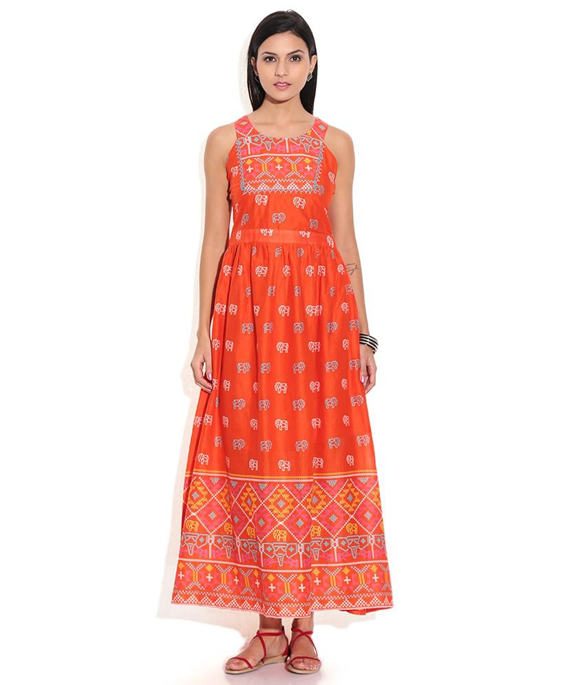 3793bacbf Global Desi Orange Cotton Maxi Dress - Buy Global Desi Orange Cotton Maxi  Dress Online at Best Prices in India on Snapdeal