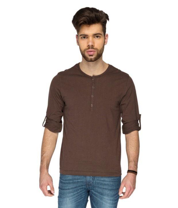 Identiti Brown Cotton V-neck