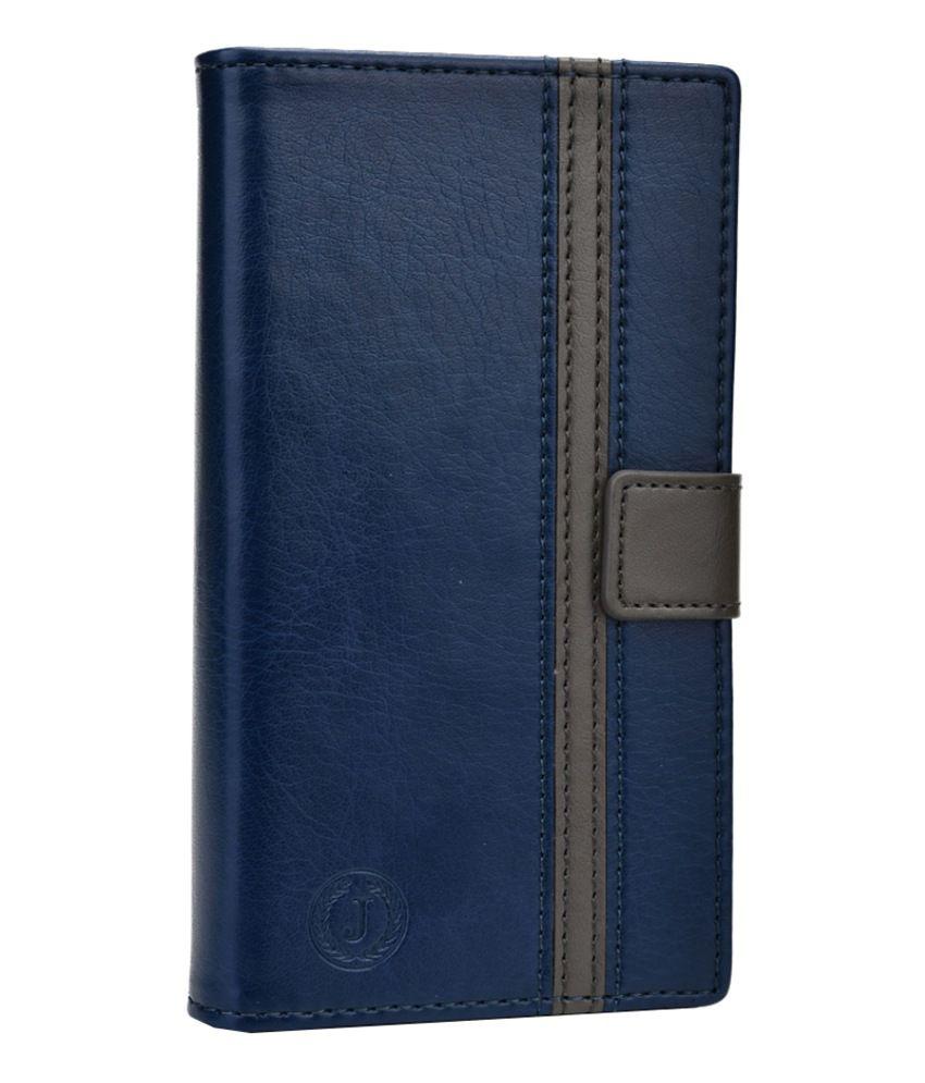 Jo Jo Pluto Series Leather Flip Cover for Lava Iris 250 - Dark Blue and Grey