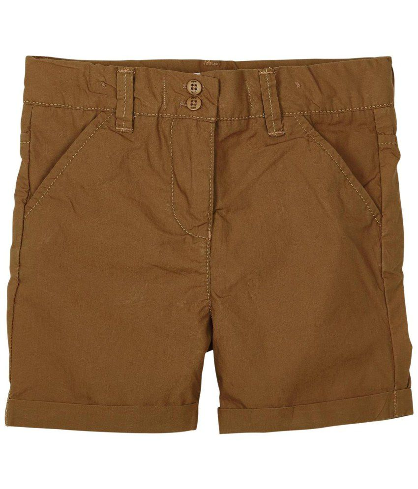 Oye Brown Cotton Fixed Shorts
