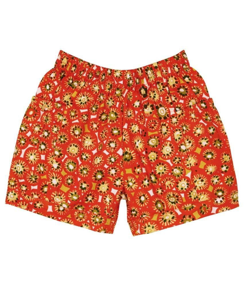 Oye Orange Cotton Elastic Shorts