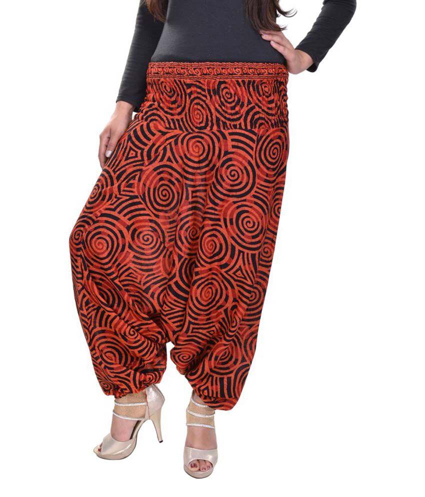 Rajasthani Sarees Orange Cotton Trousers