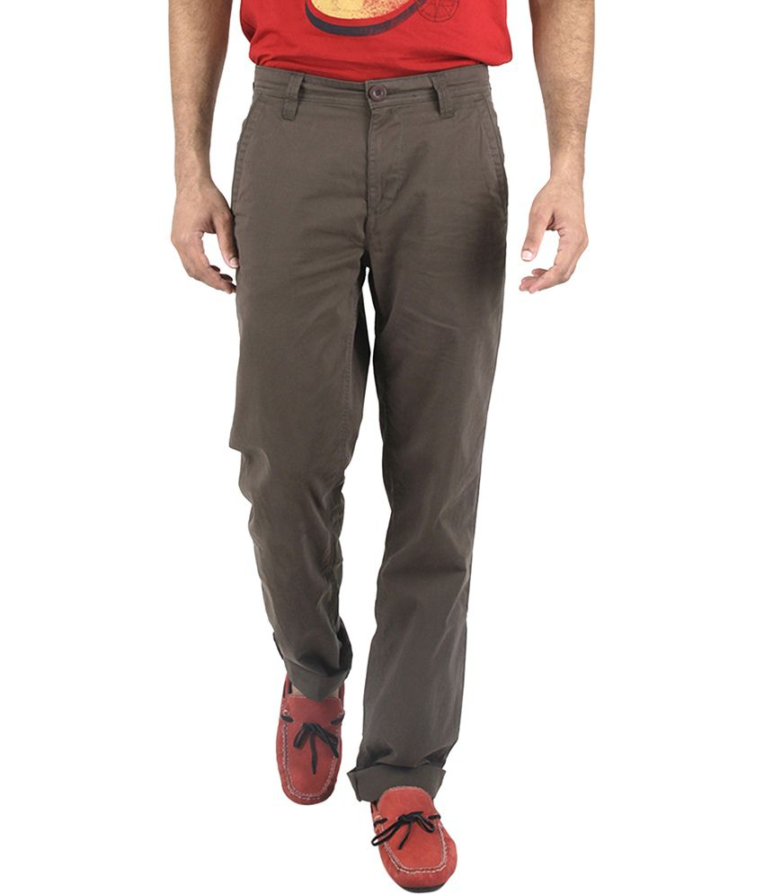 American Vintage Green Cotton Slim Fit Casual Chinos