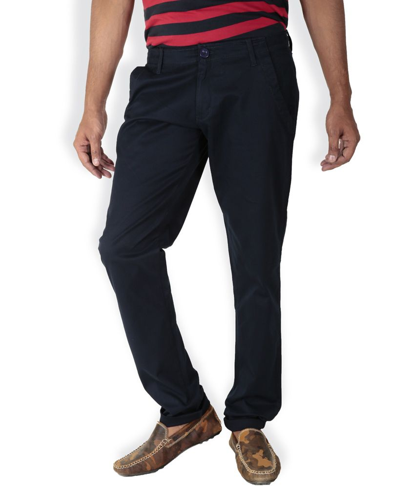 Bull Fighter Blue Cotton Slim Fit Casual Chinos