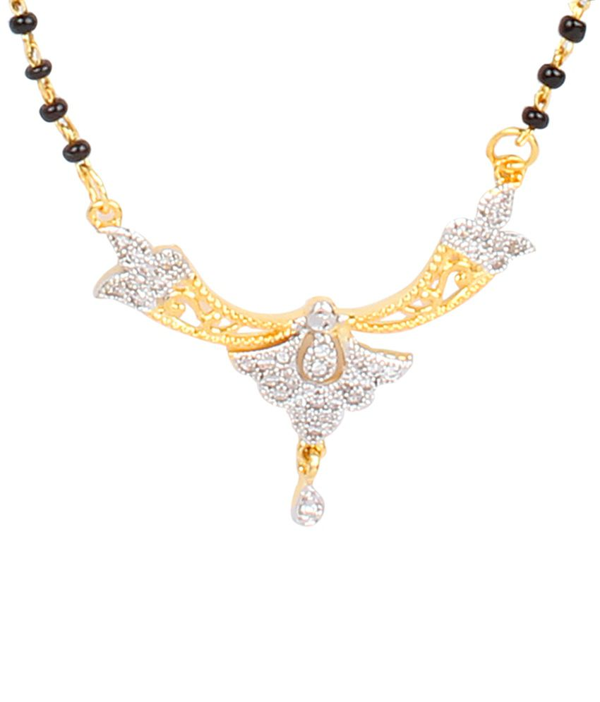 Dee Gee Beautiful Black & Silver American Diamond Traditional Mangalsutra Set