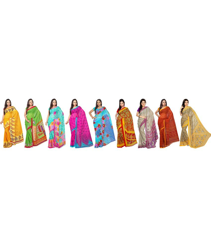 Florence Multicolour Faux Georgette Printed Saree - Pack of 9