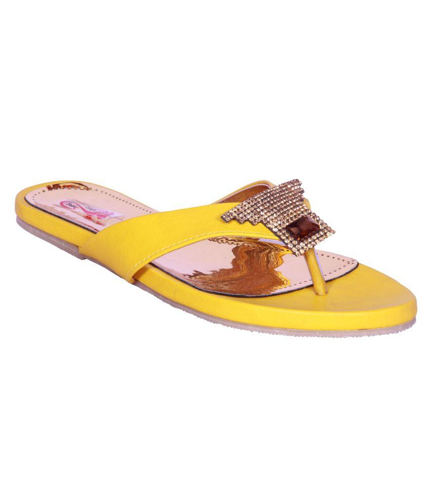 Foot Step Yellow Faux Leather Ethnic Flats