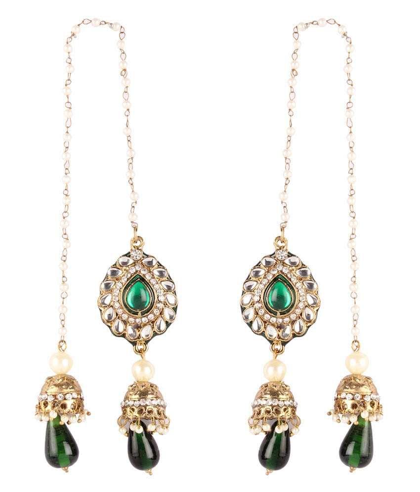 Gold & More Green & White Kashmiri Jhumka Earrings