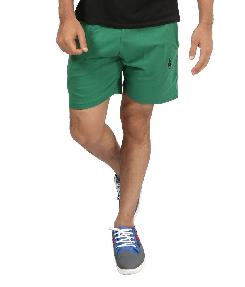 Posh 7 Cotton Green Shorts