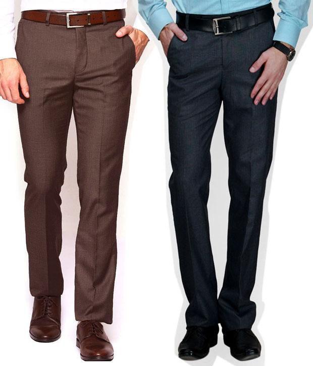 Ad & Av Pack Of Two Premium  Formal Trouser (Coffi & Black )